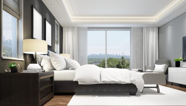 Как да съчетаем завесите с покривалото за легло в спалнята